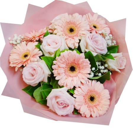 Rbt206 pink roses and gerbera bouquet free flower delivery rbt206 pink roses and gerbera bouquet mightylinksfo