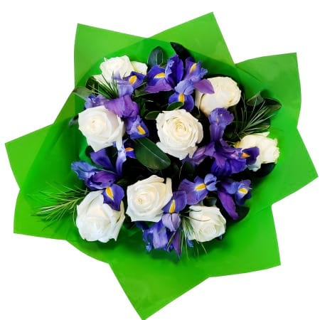 RBT306 White Roses and Irises Bouquet
