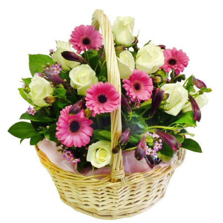 RBK176 gerbera and rose basket