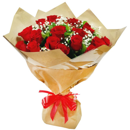 RST106, Bouquet, 20 Red Roses with Baby`s Breath