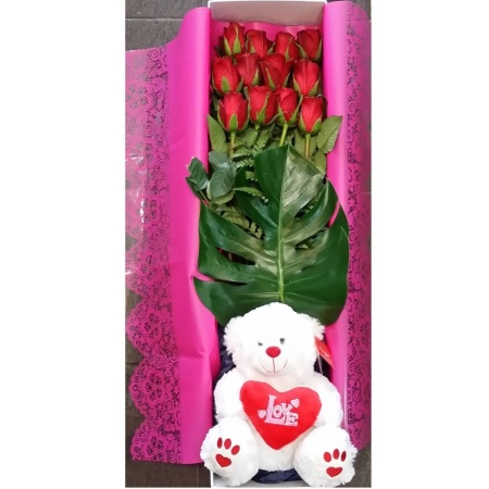RST109  12 Roses in Box w/bear