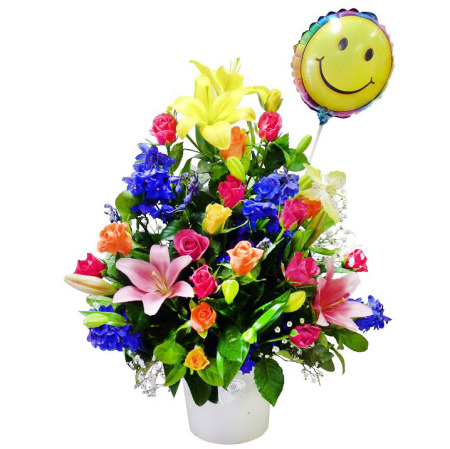 RPT126 colorful box w/smiling face balloon