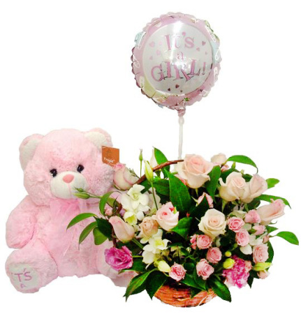 RBK108 Girl Basket with Balloon and Bear