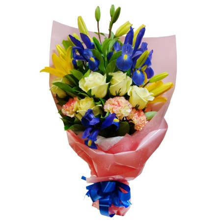 RBT207 Yellow and Blue Bouquet