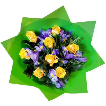 RBT307 Yellow Roses and Irises Bouquet