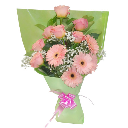 RBT211 Pink Roses and Gerebra Bouquet