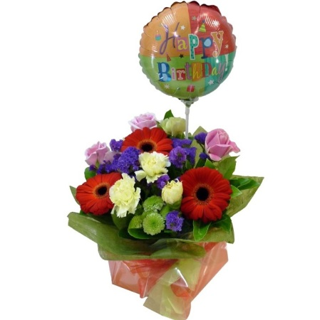 RBX163 birthday flower with balloon