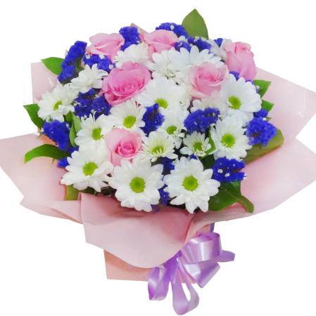 RBX306 Pink Roses with Filler Flowers