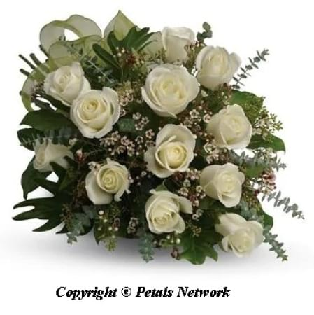 PN101 Dozen White Rose Bouquet