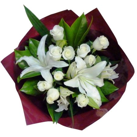 RBT177 lily & rose bouquet