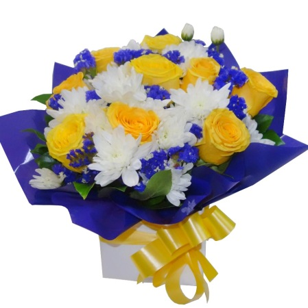 RBX308 Yellow Roses Box with blue Filler Flowers