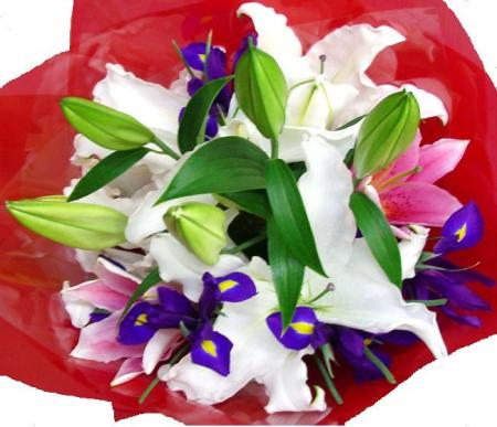 RBT 103 Lily and Iris Bouquet