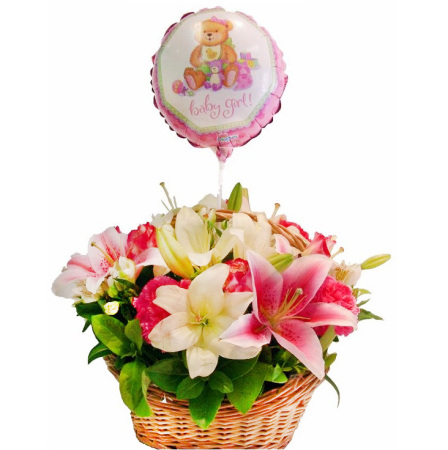 RBK139 Girl Basket with Balloon
