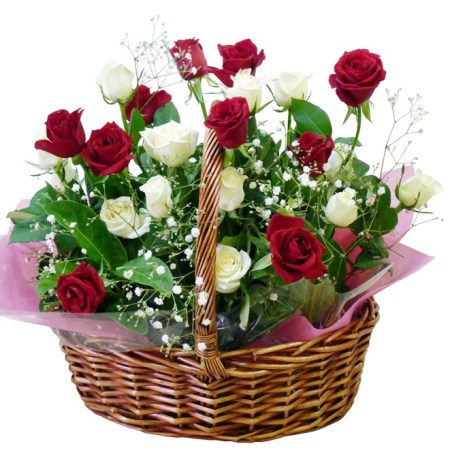 Red and white basket regal flower free flower delivery rbk103 red and white roses in basket mightylinksfo