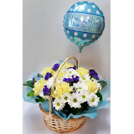 RBX335 Carnation in Basket, with Balloon it`s a boy