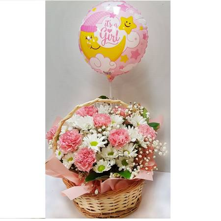 RBX334 Carnations in Basket with Balloon it`s a girl