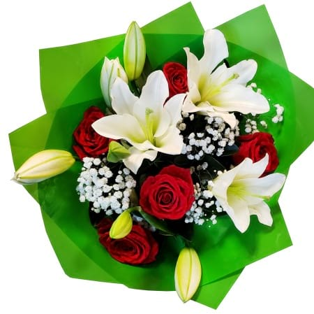 RBT308 Red Roses and Lilies Bouquet