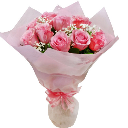 RBT130 Pink Roses Baby Breath Bouquet