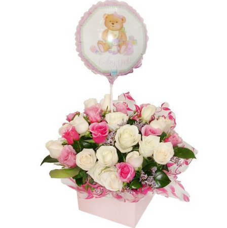 RBX104 pink rose box with balloon, it`s a girl