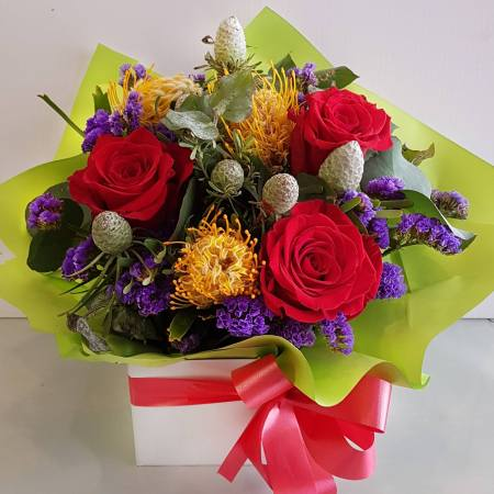 RBX323 Native and Red Roses arrangement