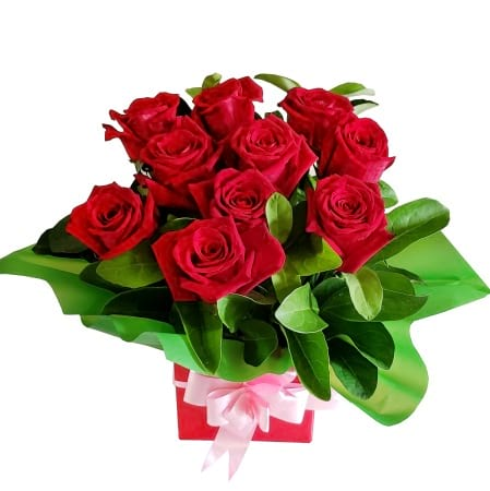RBX118  10 Red roses Mini-Box