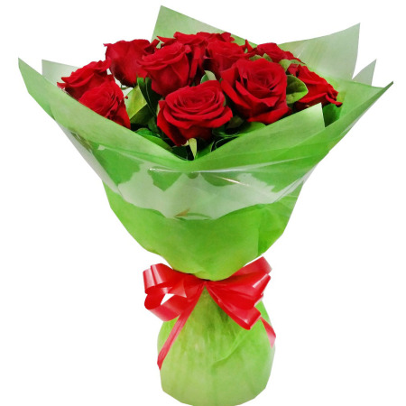 RST188, 10 Long Red Roses Bouquet