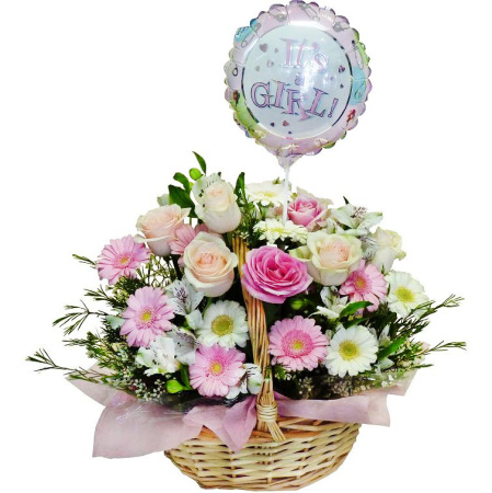 RBK178 pink & white basket w/balloon